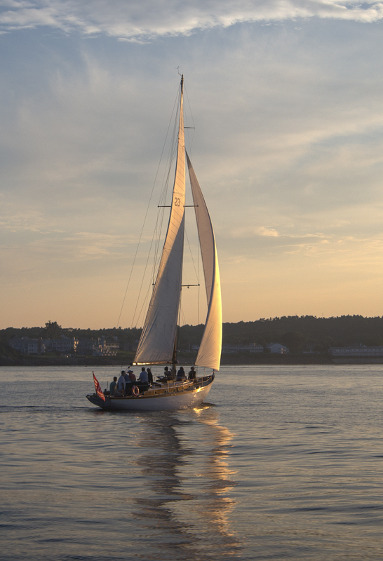 Sail boat at sunset in Ogunquit